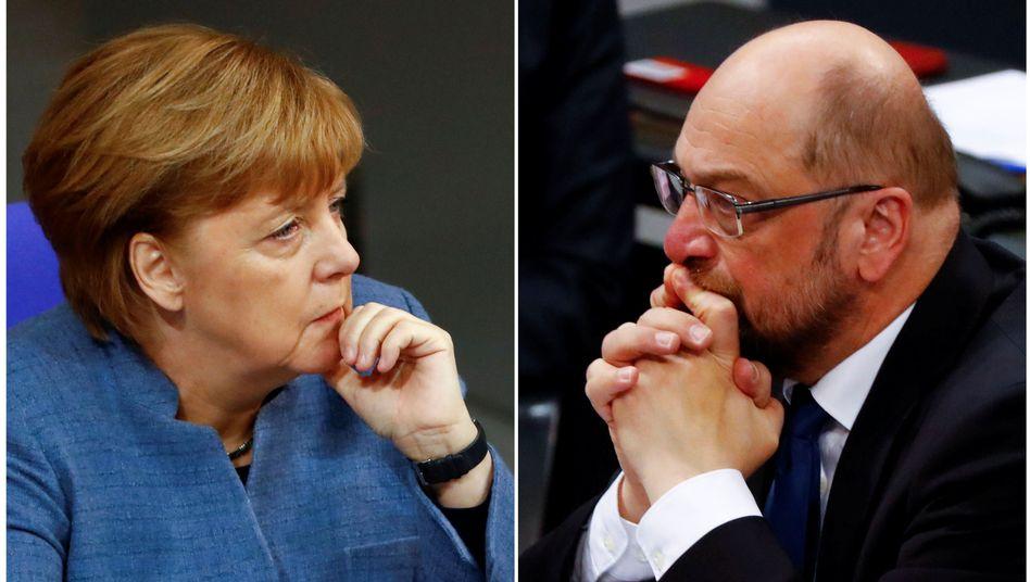 CDU-Chefin Merkel, SPD-Chef Schulz