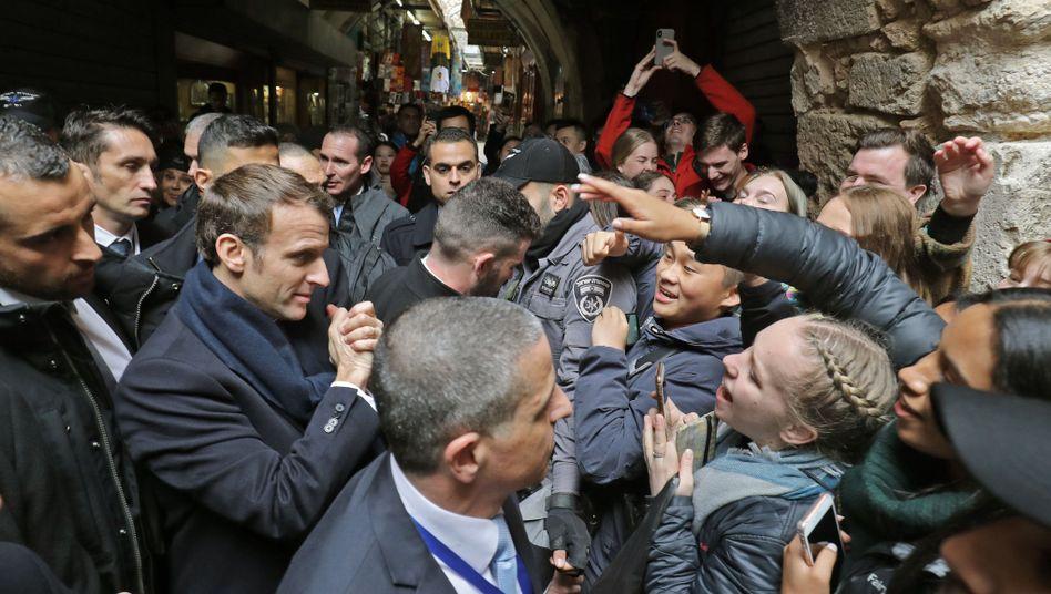 Streit in Jerusalems Altstadt: Macron legt sich mit israelischen Polizisten an