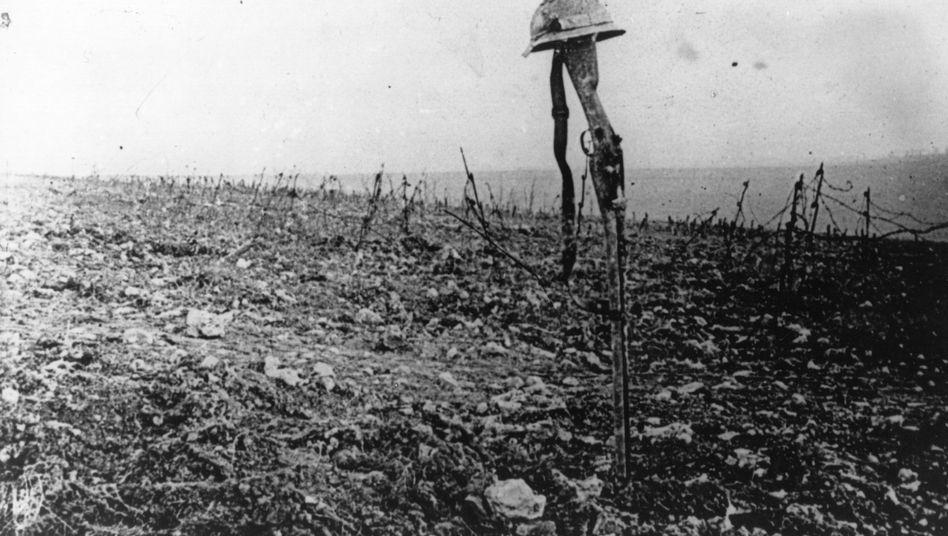 Das Grab eines französischen Soldaten in Verdun