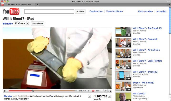 Geräte-Tortur: Das iPad soll in den Mixer - doch dafür muss es erst zerbrochen werden