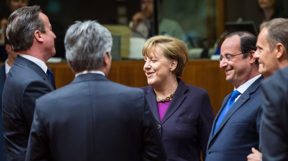 Tension over sanctions: European leaders at a round table meeting during an EU summit in Brussels on Thursday, March 20, 2014.