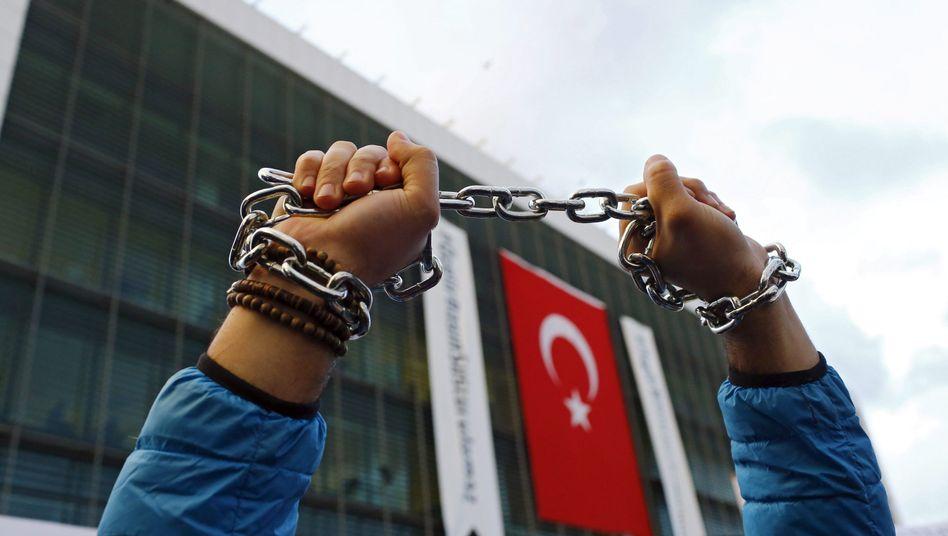 Protest für die Pressefreiheit in der Türkei