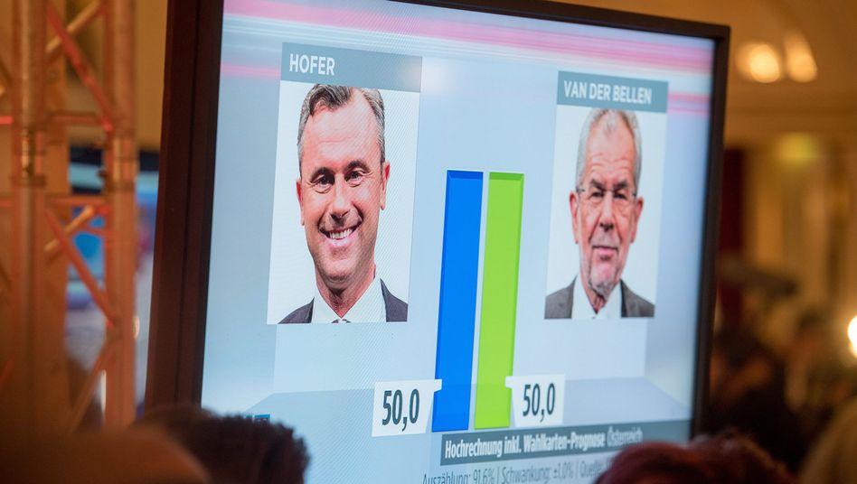 Kopf-an-Kopf-Rennen zwischen Hofer und Van der Bellen