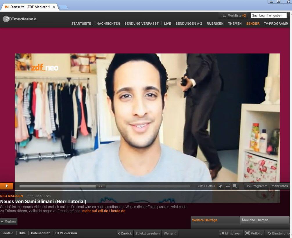NUR ALS ZITAT Screenshot ZDF Neo Mediathek