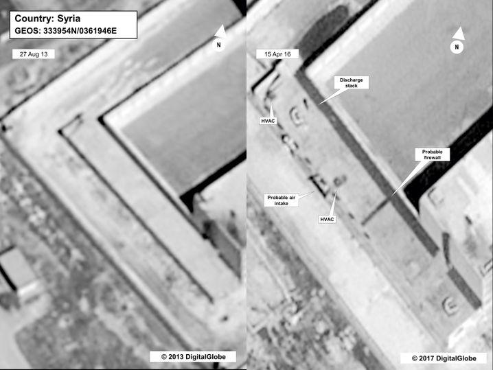 Satellitenaufnahmen vom August 2013 (angeblich vor dem Bau des Krematoriums) und vom April 2016