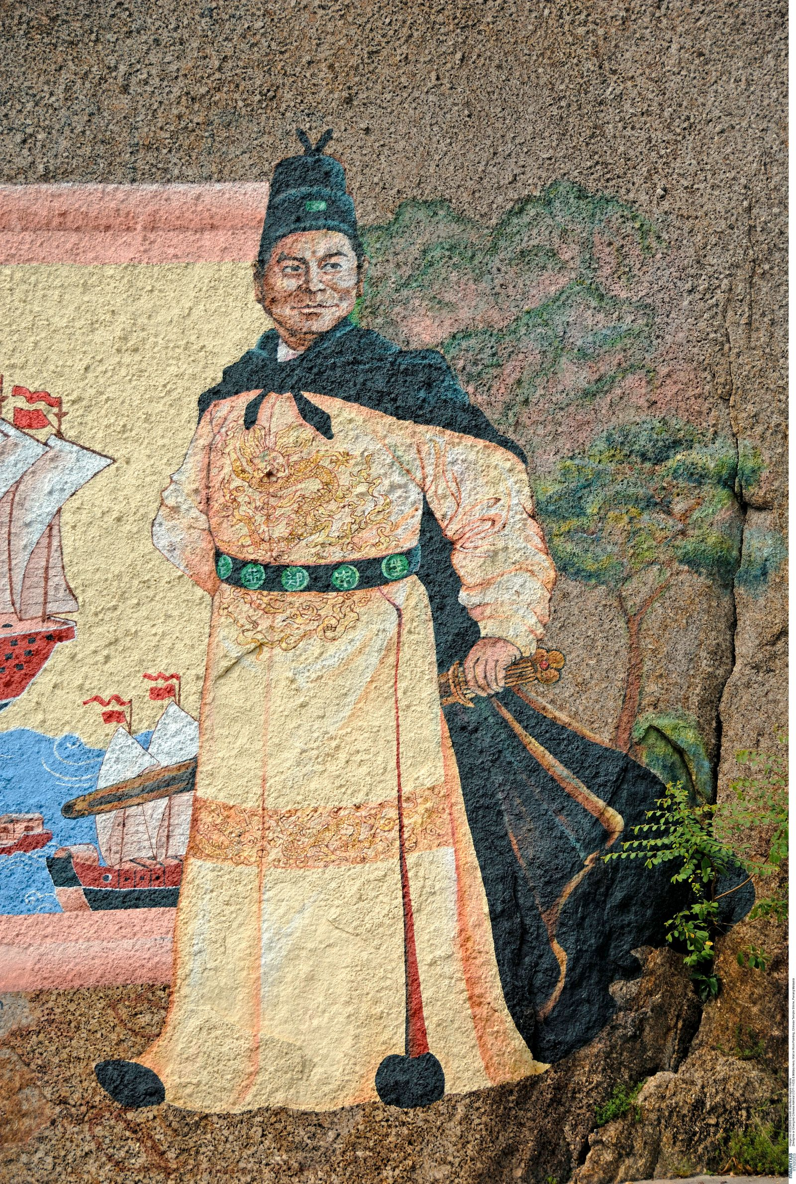 Zheng He or Cheng Ho Chinese Admiral (1371-1433) & Military Hero, Wall or Rock Painting, Chinese Temple Shrine, Penang Malaysia