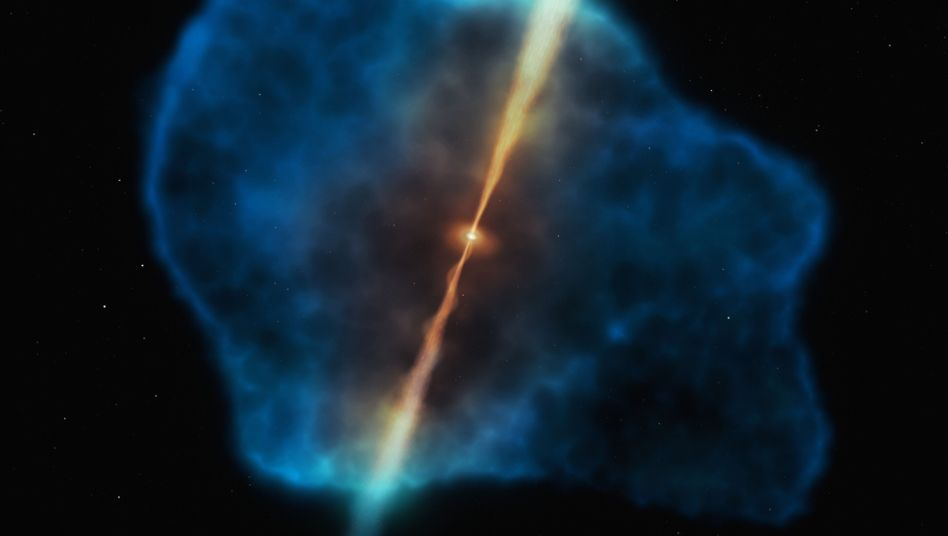 Gaswolke um einen Quasar (Illustration): Materie leuchtet hell auf, bevor sie im schwarzen Loch verschwindet