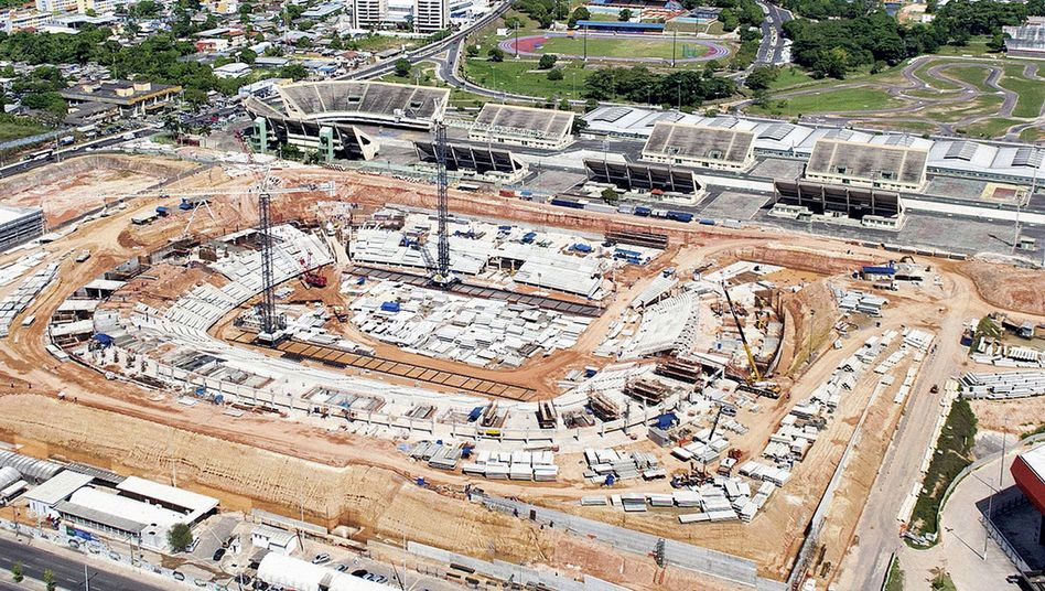 The construction site for the Amazonia Arena in Manaus.