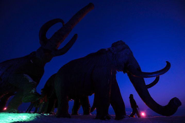 A bronze sculpture of a mammoth in Khanty-Mansiysk in Siberia
