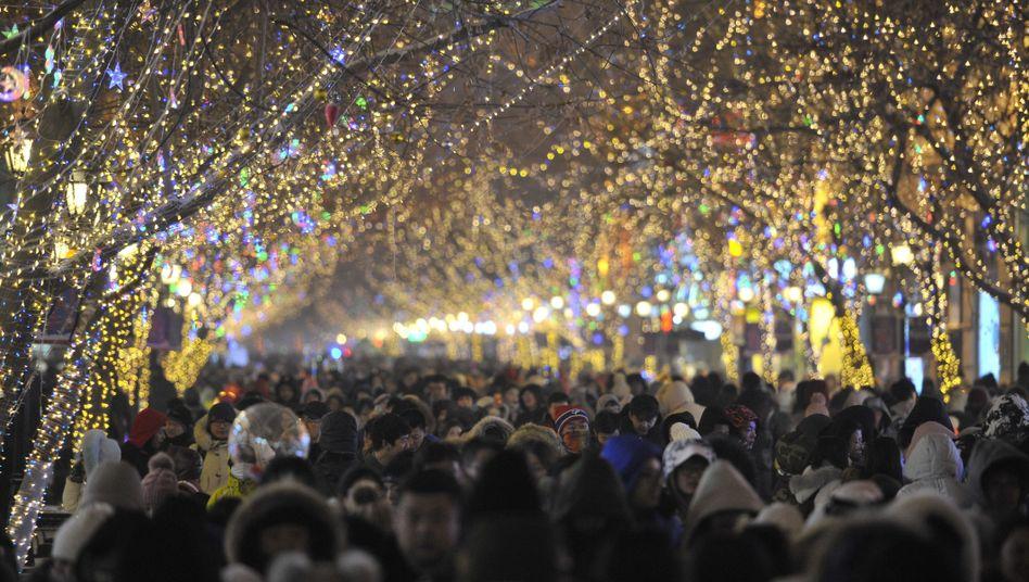 Menschenmasse in Harbin, China