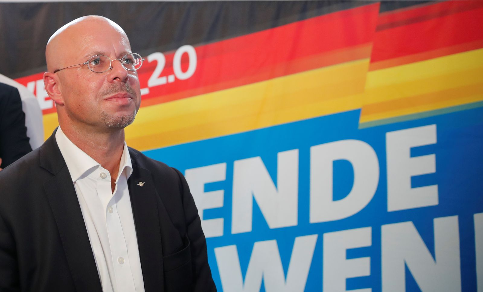 Alternative for Germany (AfD) top candidate for the Brandenburg election Andreas Kalbitz reacts for the first exit polls for the Brandenburg state election in Werder