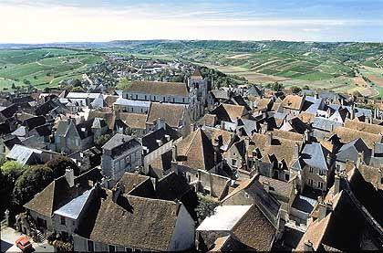 Rote Dächer, grüne Hügel - die Stadt Sancerre ist von Weinbergen umgeben
