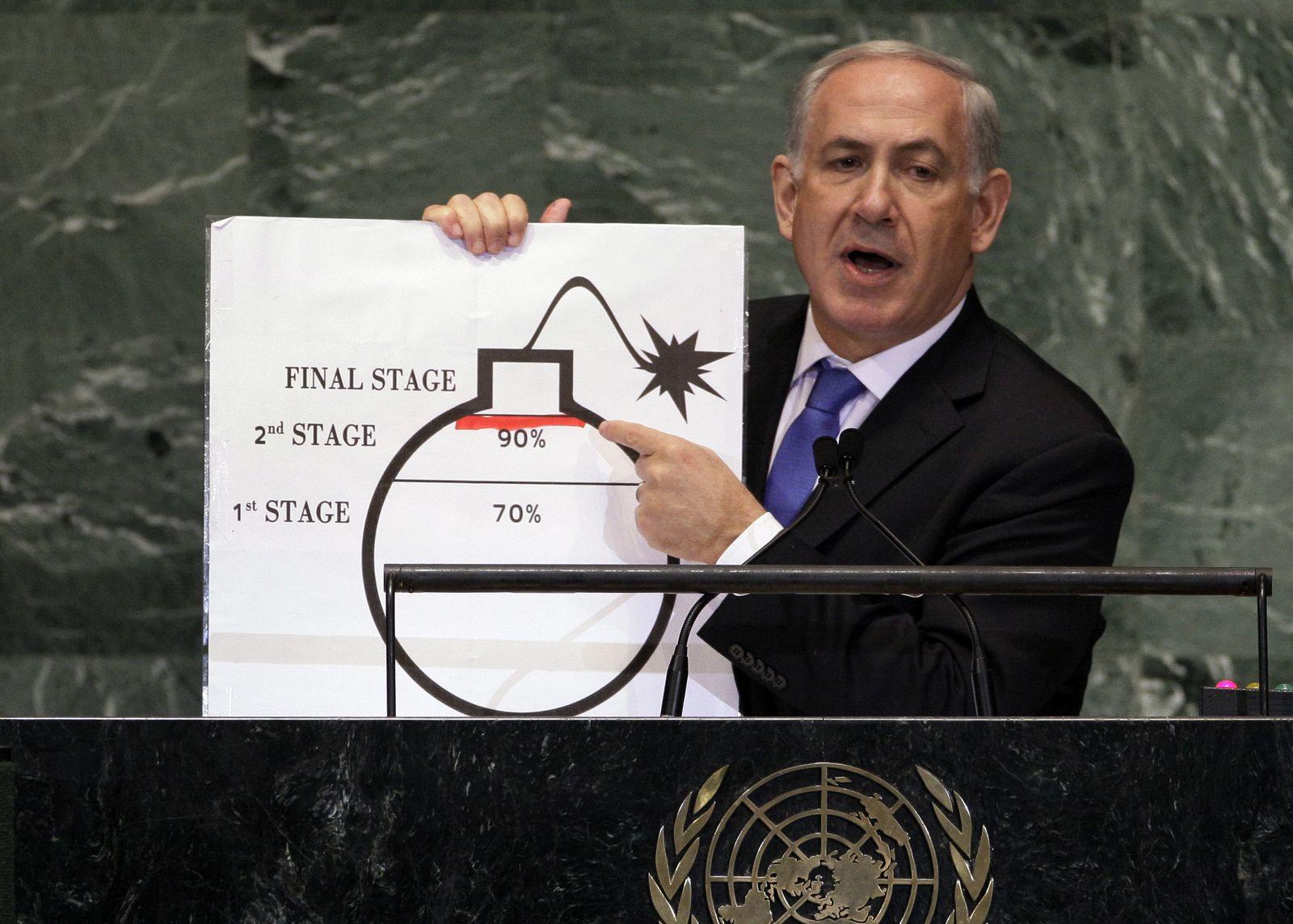 Benjamin Netanyahu/ Bomben-Grafik