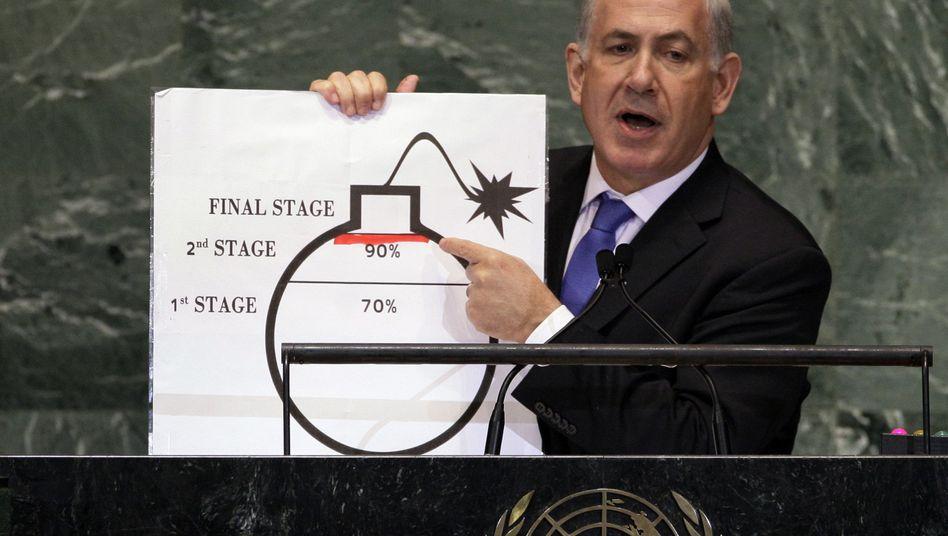 Israels Premier Netanyahu (Archiv): Er hat die Bombe zum Mittel seines Machterhalts gemacht