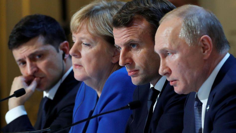 Gipfeltreffen in Paris mit (v.l.) Selenskyj, Merkel, Macron und Putin