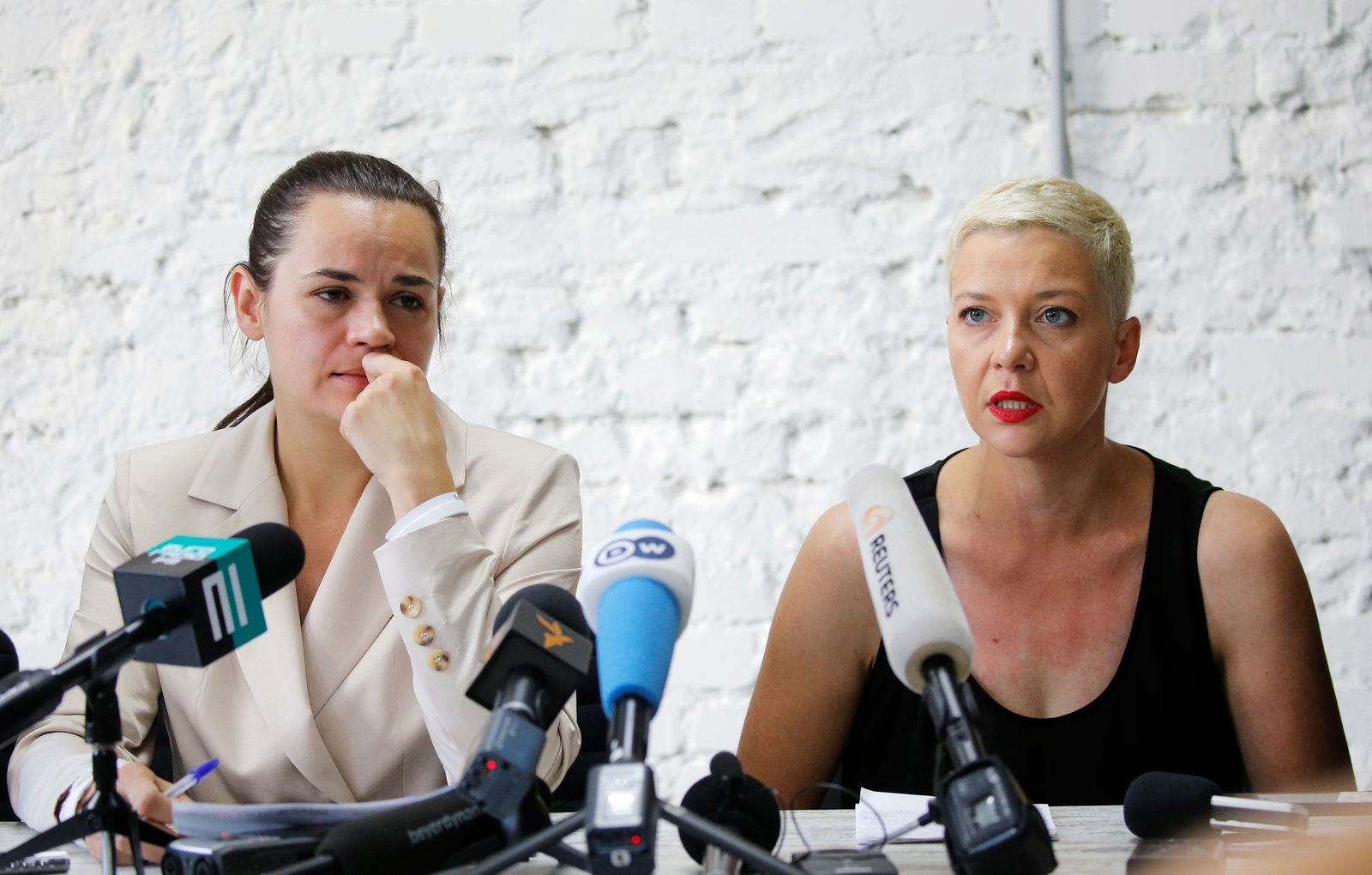 Belarusian united opposition candidate Tikhanouskaya attends a news conference in Minsk