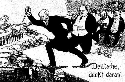 Rechte Karikatur zur »Dolchstoßlegende«: Folgenreiche Hasskampagne gegen Scheidemann (vorn) und Erzberger
