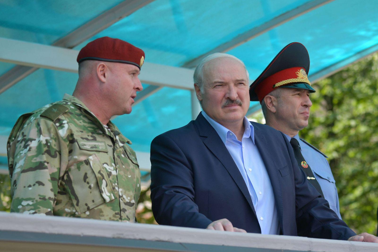 MINSK, BELARUS - JULY 28, 2020: The President of Belarus, Alexander Lukashenko (C) visits No 3214 Unit of the Internal
