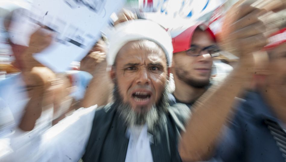 Ein Mann demonstriert in Tunis gegen die Stärkung von Schwulenrechten (Archivbild)