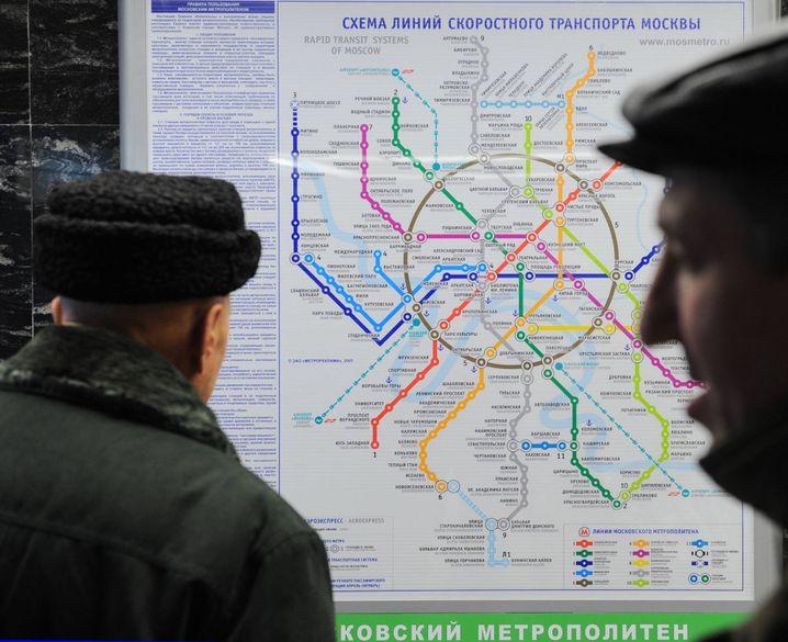 Aktueller Streckenplan in Moskau: Viele Knicks und dicke Linien