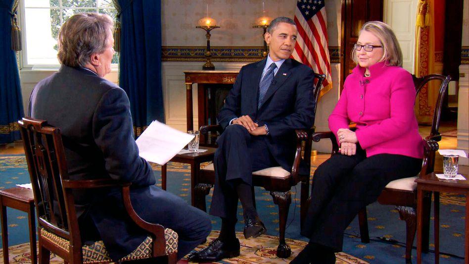 """Barack Obama, Hillary Clinton: """"Gibt es hier nichts aus dem Kaffesatz zu lesen?"""""""