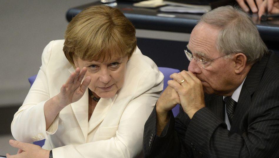 Kanzlerin Merkel, Finanzminister Schäuble: Kein Plan B