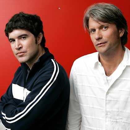 """Website MySpace.com co-founders Tom Anderson, left, and Chris DeWolfe: """"The growth is phenomenal."""""""