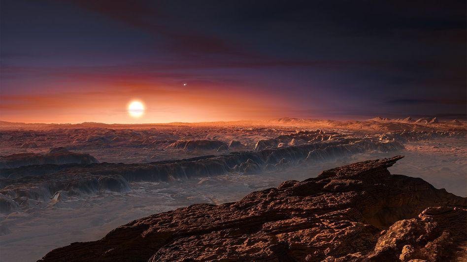 Künstlerische Darstellung der Oberfläche von Proxima Centauri b