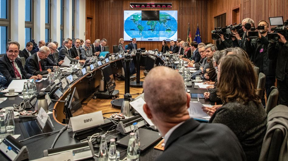 A meeting the German government's coronavirus crisis committee