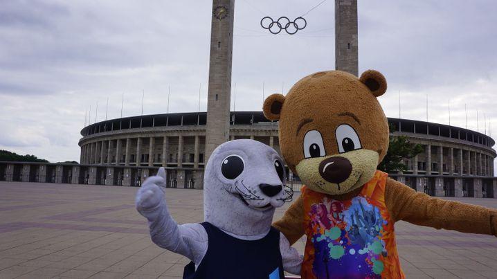 Die beiden Maskottchen der European Championships, Bonnie (Glasgow, l.) und Berlino (Berlin, r.)