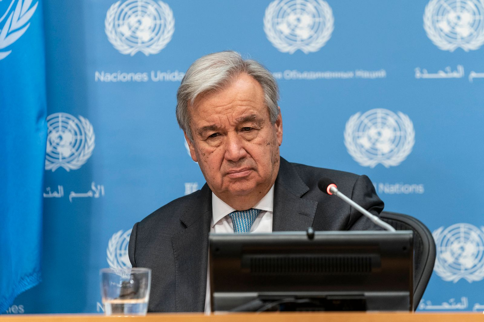 Hybrid stakeout by the UN Secretary-General UN Secretary-General Antonio Guterres speaks during hybrid press stakeout w