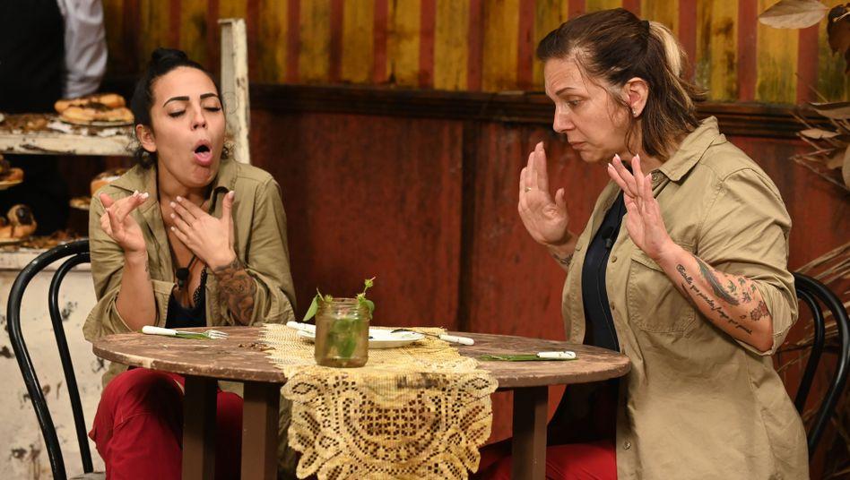 Bei der Dschungelprüfung müssen Elena und Danni diverse Kuchenstücke aus den üblichen Pürierhoden, Gammelbohnen und Entenzungen essen