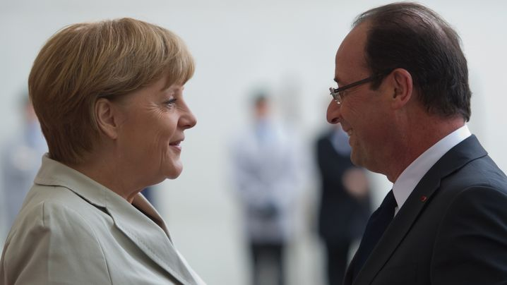 Spitzentreffen in Berlin: Frankreich Hollande bei Merkel