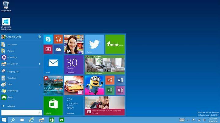 Screenshot aus Windows 10: So sieht das neue Startmenü aus