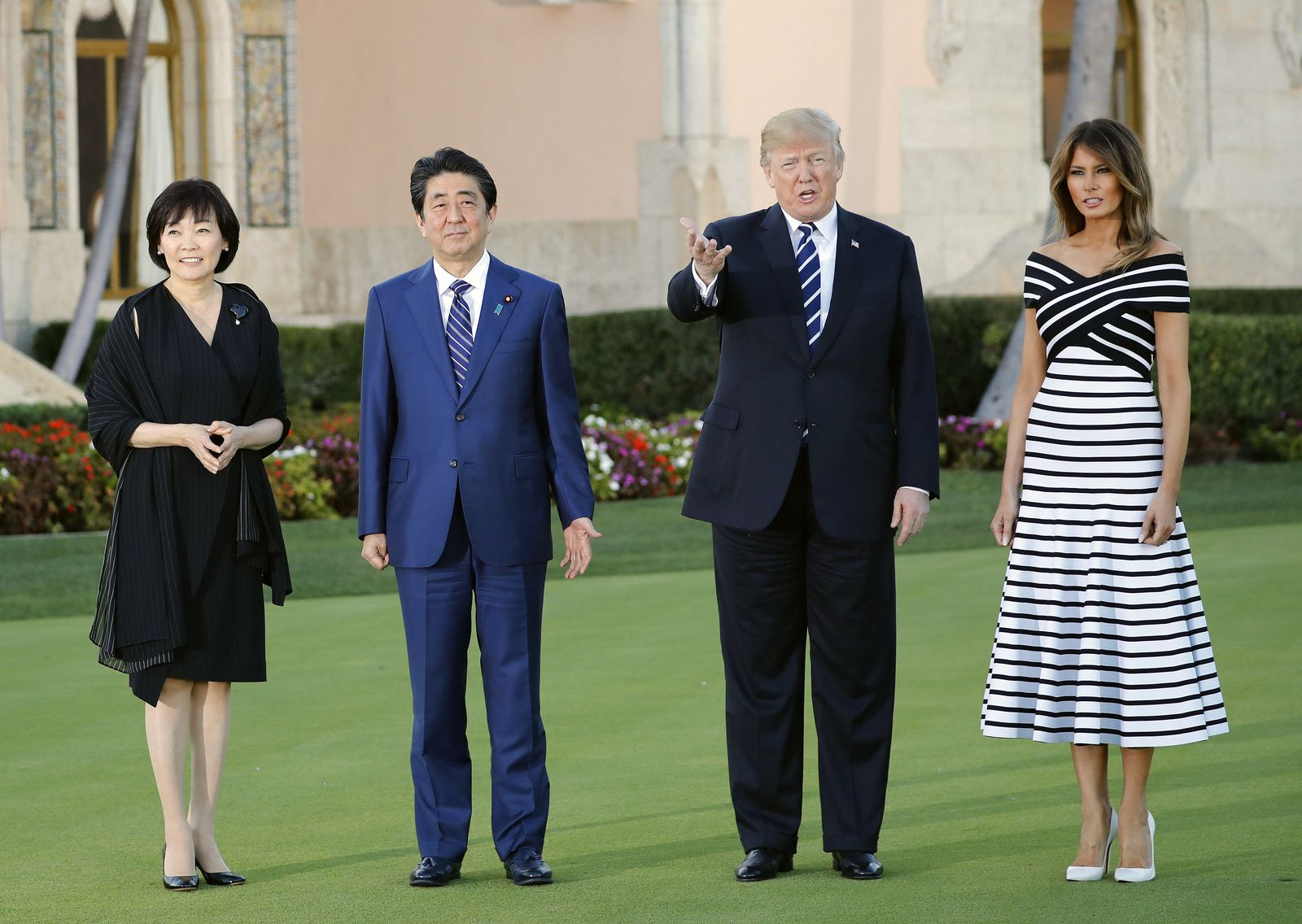 Donald Trump, first lady Melania Trump, with Japanese Prime Minister Shinzo Abe and his wife Akie Abe