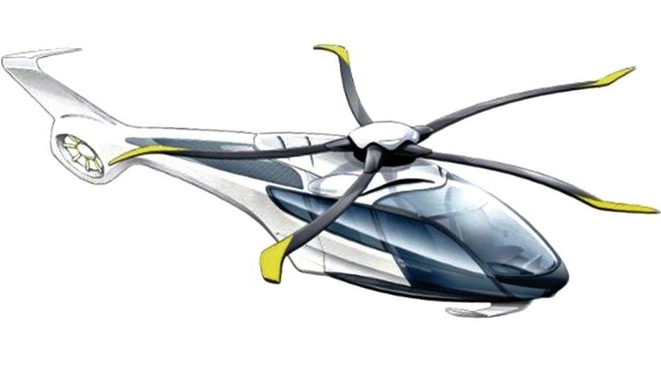 Konzeptzeichnung des geräuscharmen Hubschraubers Eurocopter X4