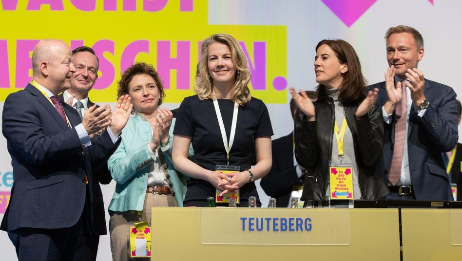 Die nun scheidende FDP-Generalsekretärin Linda Teuteberg kurz nach ihrer Wahl im April 2019