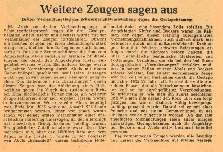 Zeitungsartikel vom 14. Januar 1950: »In der übelsten Weise zugerichtet«