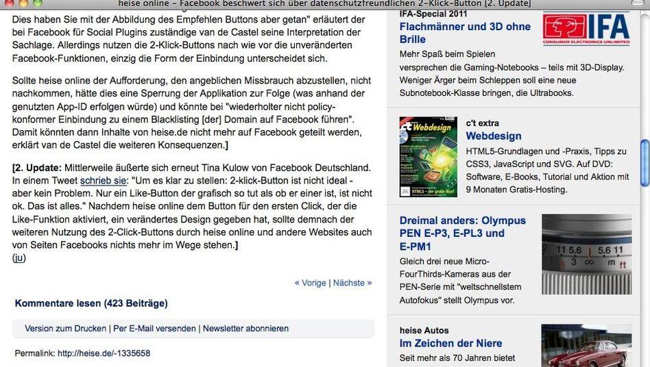 Teilen-Funktion auf Heise Online: Die Facebook-Funktion muss per Klick aktiviert werden