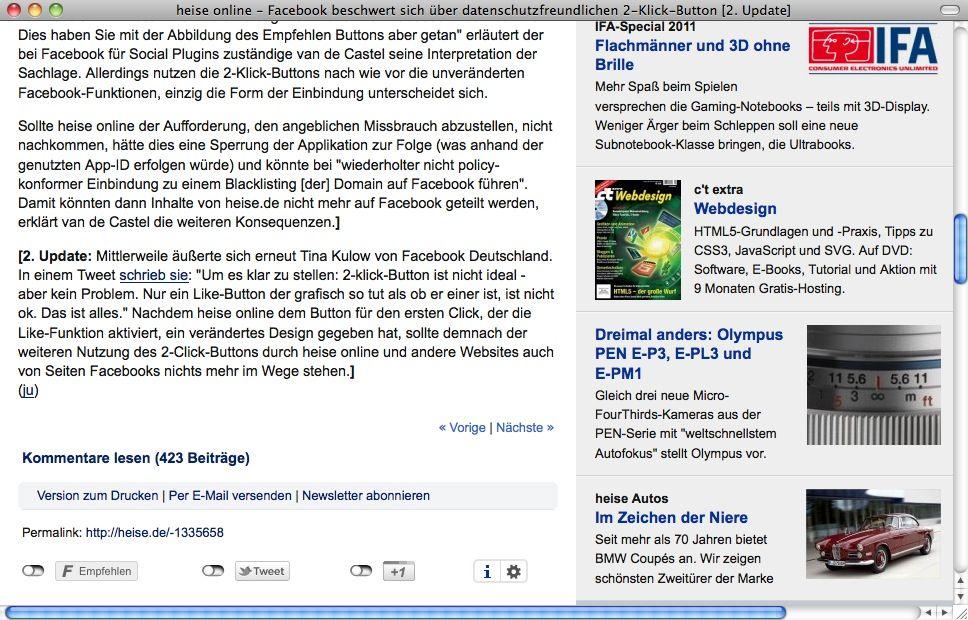SCREENSHOT Heise / Facebook / NETZWELT