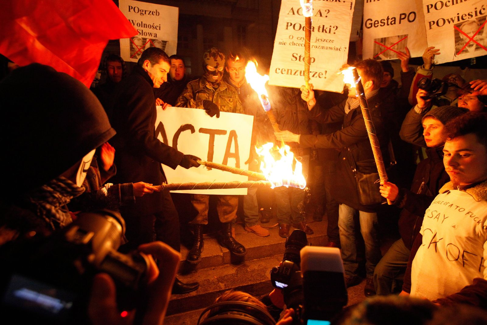 Protest against Anti-Counterfeiting Trade Agreement (ACTA) in Pol