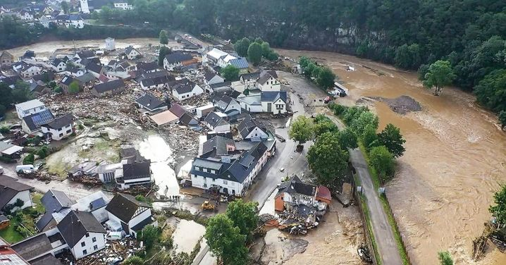 Flood damage in the town of Schuld in the Eifel region of North Rhine-Westphalia: There will be many protestations again in the coming days that this isn't an election issue, but of course it is.