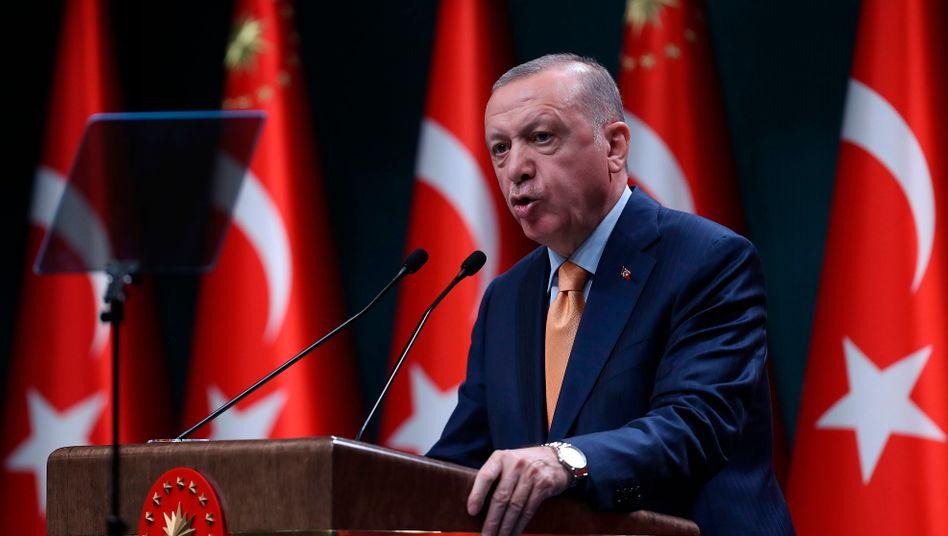 Der türkische Präsident Erdoğan bei einer Rede in Ankara