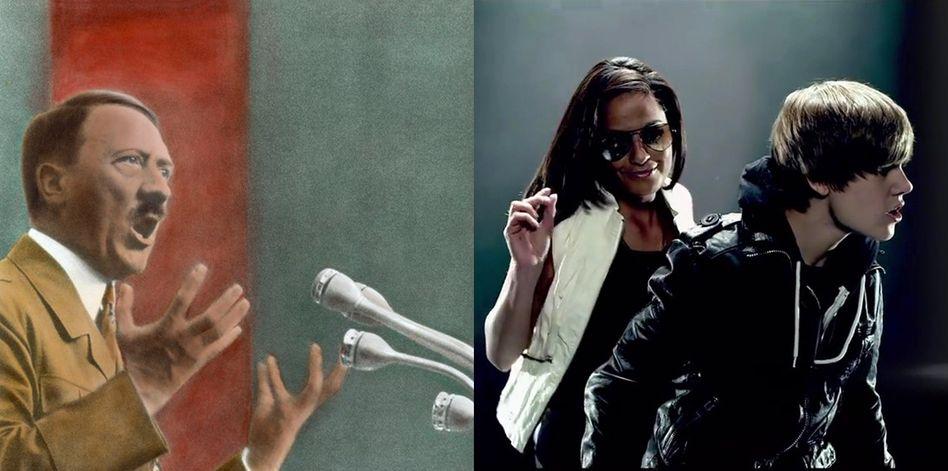 Links: Adolf Hitler bei einer Rede im Sportpalast, 1934. Rechts: Justin Bieber in einem Musikvideo von 2010.