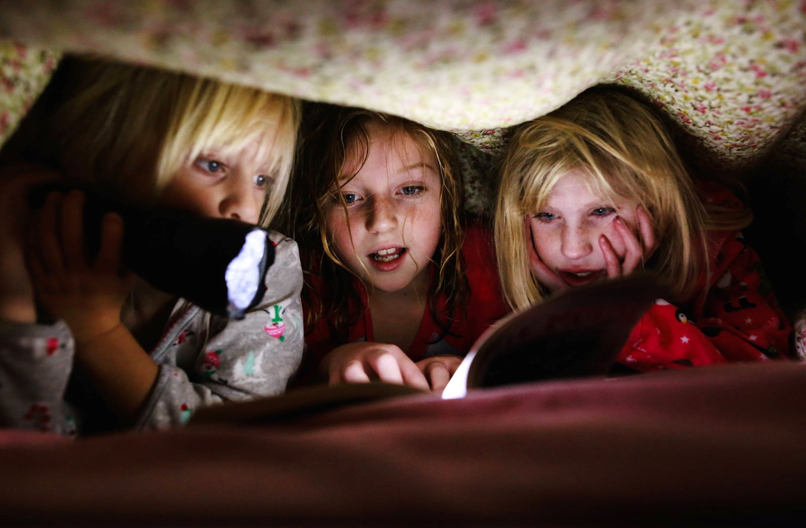 Three little girls reading book under blanket with flashlight Windsor, ON, Canada ,model released, Symbolfoto PUBLICATIO