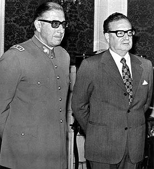 Less than a month before the fatal coup, Chilean President Salvador Allende stands next to General Augusto Pinochet, who overthrew him and set up a military dictatorship that lasted until 1990.