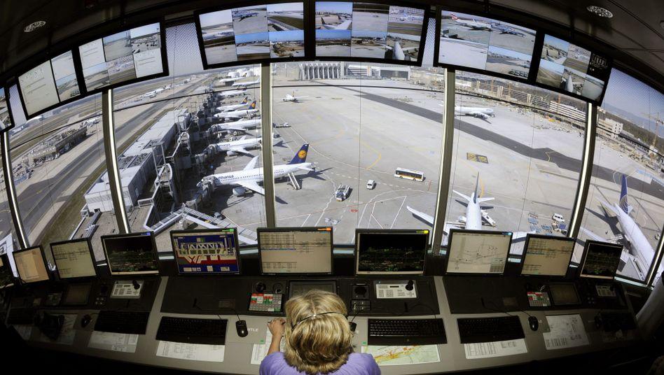 An air traffic controller at Frankfurt airport.