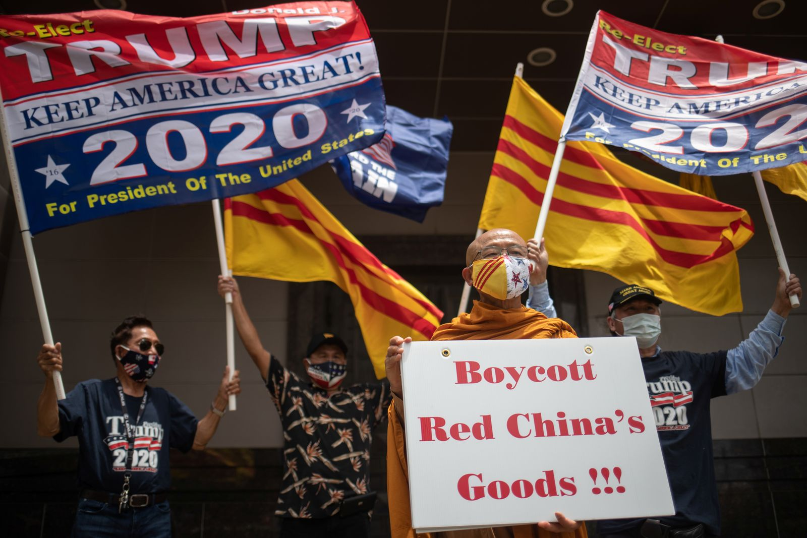 Activists against the Chinese Communist Party protest outside of China?s Consulate in Houston, Texas