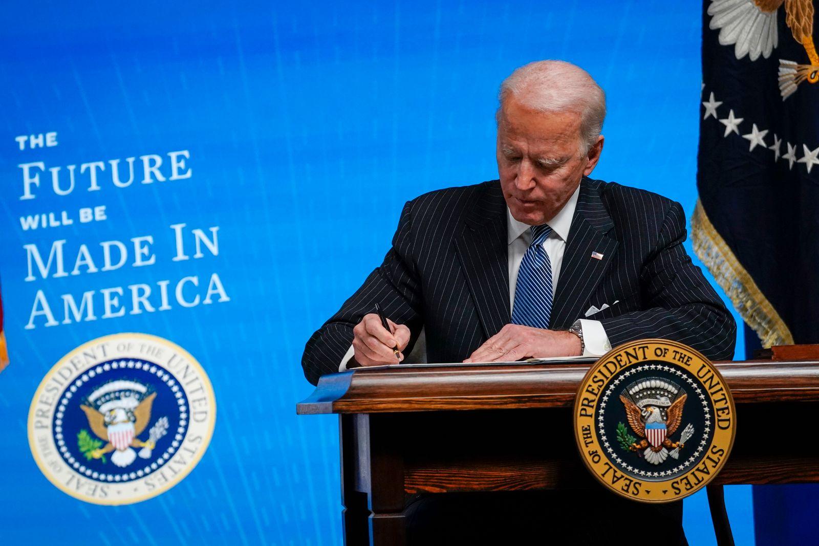 President Biden Signs Executive Order After Delivering Remarks On American Manufacturing