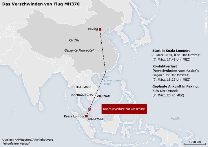 Geplante Route von Flug MH370: Rätselhaftes Verschwinden